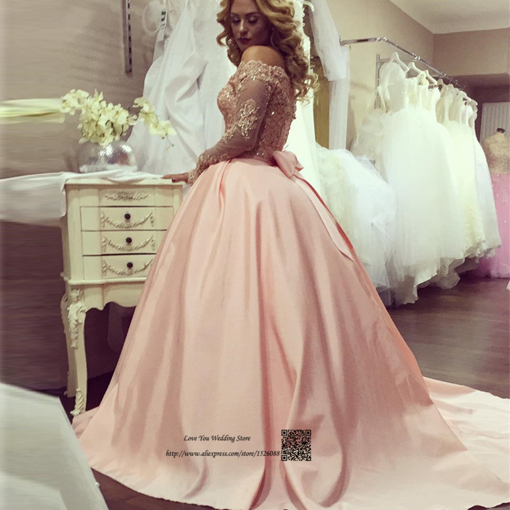 Trouwjurk Vintage Pink Wedding Dress 2017 Ball Gown Bride Dresses Sparky Long Sleeve Lace Wedding Gowns Vestidos de Noiva Bow