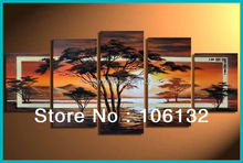 Framed 5 Panel Large Office Decoration Tree Artwork Wall Art Sunset Canvas Painting Picture A0256