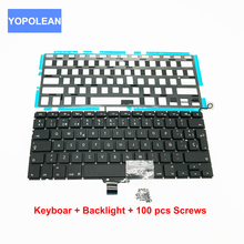 "3pcs/lot Laptop Keyboard with Backlight & 100pcs Keyboard Screws For Macbook Pro 13.3"" A1278 Spain Layout 2009 2010 2011 2012"