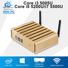 A Mini Computer Intel Core i3 5005U Office Windows 10 Core i5 5200U i7 5500U Mini PC Desktop Fanless HTPC TV Box Computador