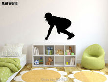 Mad World-Football Player Boy Kid Silhouette Wall Art Stickers Wall Decal Home DIY Decoration Removable Room Decor Wall Stickers