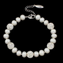 Freshwater Cultured Pearl Bracelet Culture white Pearl Dome natural with rhinestonewith Clay Pave brass lobster clasp de perle