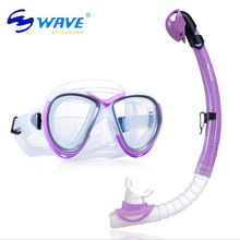 WAVE Kids Full Dry Silicone Explosion Proof Lens Diving Mask Snorkel Set Children Special Snorkeling Tube Equipment