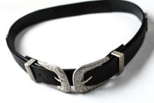 Fashion Women Lady Vintage Boho Metal Leather Double Buckle Waist Belt Waistband(China)