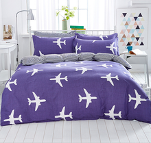 2016 New Design 100% Cotton Fashion Plane Purple Bedding Set Queen Size Bedding Set Printed Bedsheet Pillowcase Duvet Cover(China)