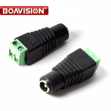 10pcs/lot Female DC Connector 5.5/2.1mm CCTV UTP DC Power Plug Adapter Cable DC/AC 2/Camera Video Balun(China)