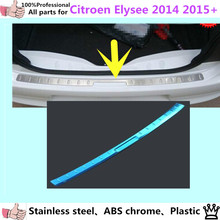 Car body External outside Rear Bumper trim styling cover detector Stainless Steel plate pedal 1pcs for Citroen Elysee 2014 2015+(China)