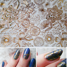 1 Sheet Embossed 3D Nail Stickers Gold Rose Flower Pattern Nail Art Decals Decoration #BP054 # 24913(China)
