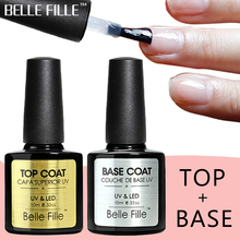 BELLE FILLE Base And Top Coat Transparent Gel Nail Polish UV 10ml Soak Off Primer Gel Polish Gel Lacquer Nail Manicure CDSP01(China)