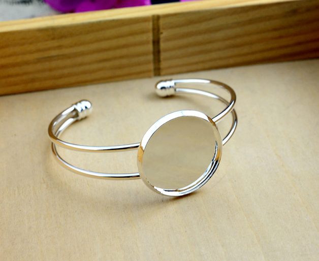 High 25mm Silver Plated Bangle Base Bracelet Blank Findings Tray Bezel Setting Cabochon Cameo (L6-01)