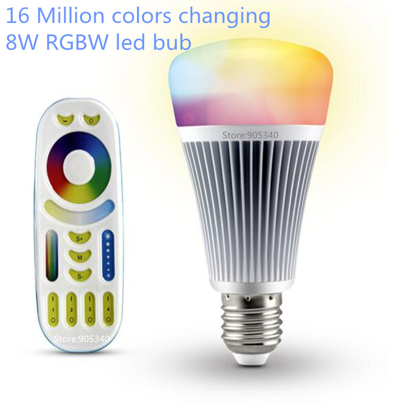 16 million color 8W Smart RGBW RGBWW MI.light CCT LED Bulb  2.4G wireless RF touch Remote Controller Dimmable lamp E27 85-265V<br>