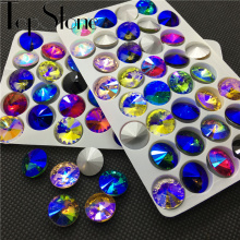 All Sizes Colored AB Rivoli Fancy Stone 6mm 8mm,10mm,12mm,14mm,16,18mm Round Pointback Glass Crystal Jewelry Stones