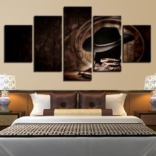 Prints Frame Canvas Painting For Living Room 5 Panel Cowboy Hat And Boots Modern Modular Wall Art Home Decoration Picture