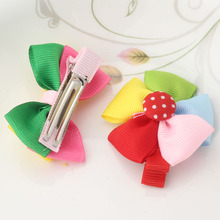Candy Color Knitted Small Bow Hairpins Kids Women Girls' Rainbow Hair Clips Flower Ribbon Dot Barrette Accessories Wholesale