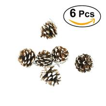 6pcs 6.5cm 5cm Christmas Pine Cones With String Wood Pinecone Christmas Tree Decoration Crafts For Home Ornament