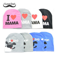 2017 fashion spring baby hats knitted warm cotton toddler beanie baby girl boy I LOVE PAPA MAMA kids winter Cap boy 1~3years