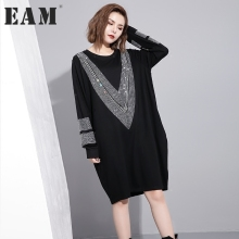 [EAM] 2017 autumn winter round neck long sleeve solid color black diamoned loose big size dress women fashion tide JC33201