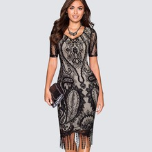 Buy Vintage Elegant Fringe Tassel Hemline Bodycon Women Dress Summer One-piece Patchwork Floral Lace Classic Black Dress HB337 for $13.49 in AliExpress store