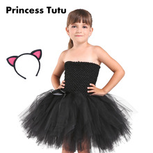 Black Color Halloween Girl Catgirl Knee Length Cosplay Evening Party Dress Kids Holidays Tutus Wear Size 2-10Y With Headband