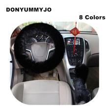DONYUMMYJO 3pcs/set Plush Car Steering Wheel Cover Sets Spring Fur Leather Handle Sleeves 9 Colors For Universal 95% car