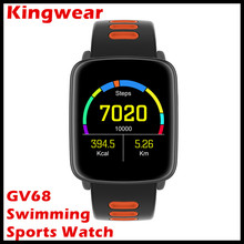 Kingwear GV68 Swimming Sports Bluetooth Smart Watch Replacable Strip MTK2502 Message Call Reminder  Smartwatch for Swimming Bath