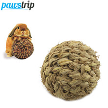 Diameter 10cm Handmade Grass Ball Rabbit Hamster Toys Small Animal Guinea Pig Cleaning Teeth Toys with Bell
