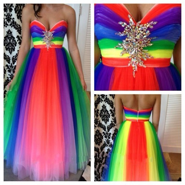 New Fashion Rainbow Colorful evening Dresses 2019 Beaded Luxury Special Design Ball gown prom Dress evening gowns