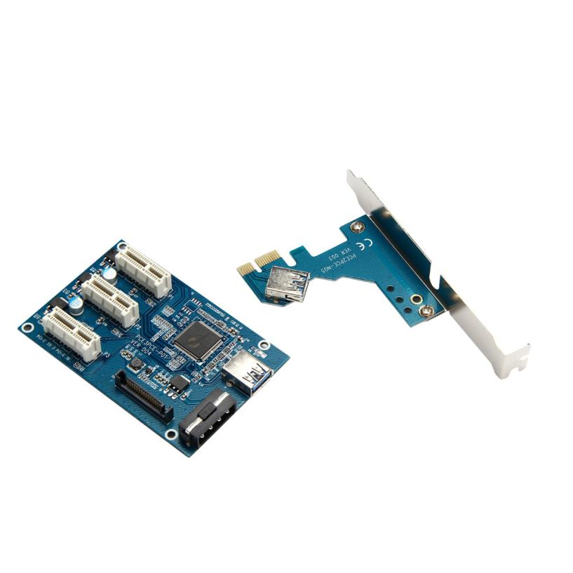 Adroit Adapter Card PCI-e Express 1X To 3 Port 1X Switch Multiplier HUB Riser Cards &amp; USB Cable 28S7430 drop shipping<br>