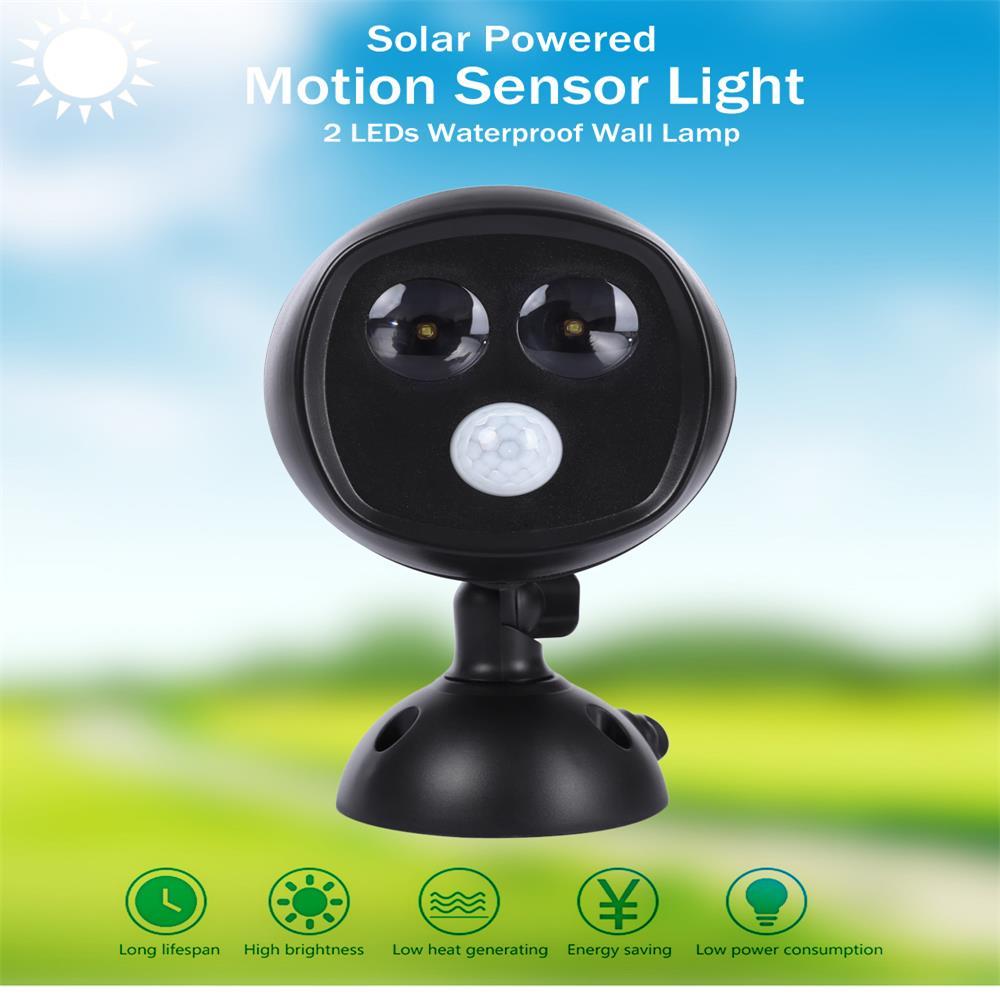 New Super Bright 2 LEDs Waterproof Solar Powered PIR Motion Sensor Light led solar lights Garden Lamp Outdoor Street Lighting <br>