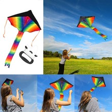 Portable Colorful Kite Triangle Kite for Kids Adults For Outdoor Games Activities Outdoor Fun Sport Beach Holiday Kites Family(China)