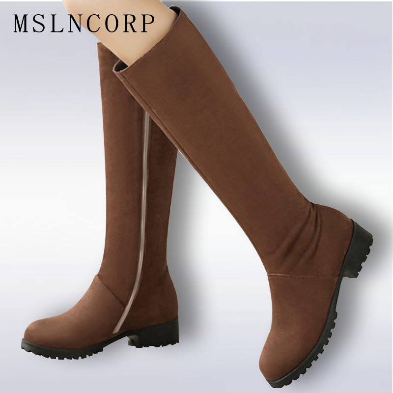 Plus Size 34-48 fashion women round toe zipper boots low heel simple knee high boots Zipper Warm Winter Shoes Ladies Long Boots<br>