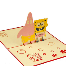 (10 pieces/lot)Comic and Anime Birthday Greeting Card Sponge Bob Square Pants Card Patrick Star for Baby Shower Card for Child