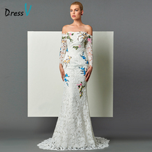Dressv ivory mermaid lace evening dress off the shoulder appliques long sleeves court train zipper up women long evening dresses