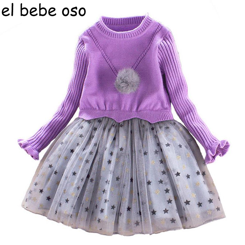 Children Clothing New Winter Style Knitted Thick Warm Girl Dress Mesh Patchwork O-neck Cute Autumn Baby Kids Girls Dresses XL269<br>