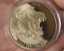 2015 HALF TITAN Physical Bitcoins GOLD Plated Coins MEDAL USA US UK DOLLAR MONEY DIGITAL LITECOIN okcoin gold bar MARKS EUROS