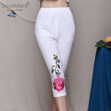 Women's Casual Chinese Flowers Embroidery Wind Large Size Cotton Stretch Pant Peony Capris Legging Summer Cropped Trousers AB15(China)