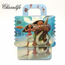 Chicinlife 6Pcs Moana Theme paper bag Candy Box Gift Box Boy/Girl Kids baby shower Birthday Party Decoration Party Supplies