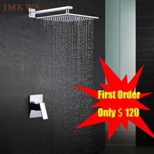 "JMKWS Ultra Thin Wall Mounted Shower Panel 10"" Single Handle Bathroom Faucet Mixing Valve Hot And Cold Shower Head Set Rainfall(China)"