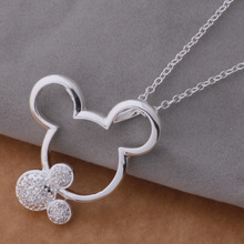 2016 New Necklace 925 Silver Jewelry Exquisite Cute Mickey Pendant Necklace White Red CZ Nice Necklace AN671-673