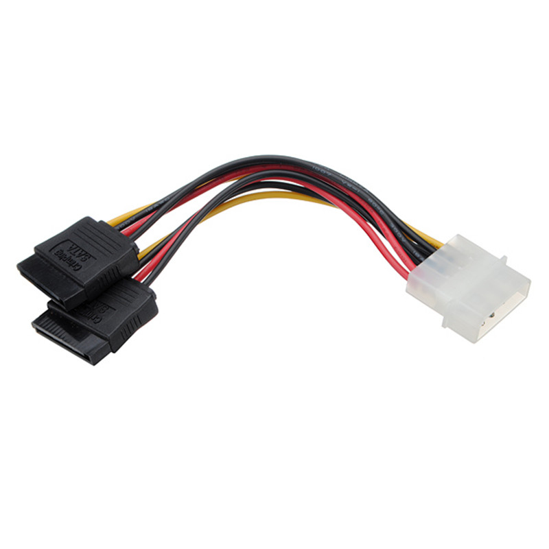 5 pcs/lot Molex HDD Power Cable Serial ATA SATA 4 Pin IDE Molex to 2 of 15 Pin HDD Power Adapter Cable(China)