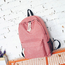 RU&BR Summer New Korean Candy Color Canvas Shoulder Bag Simple Fashion Casual Bags Female Small Fresh Large Capacity Backpack