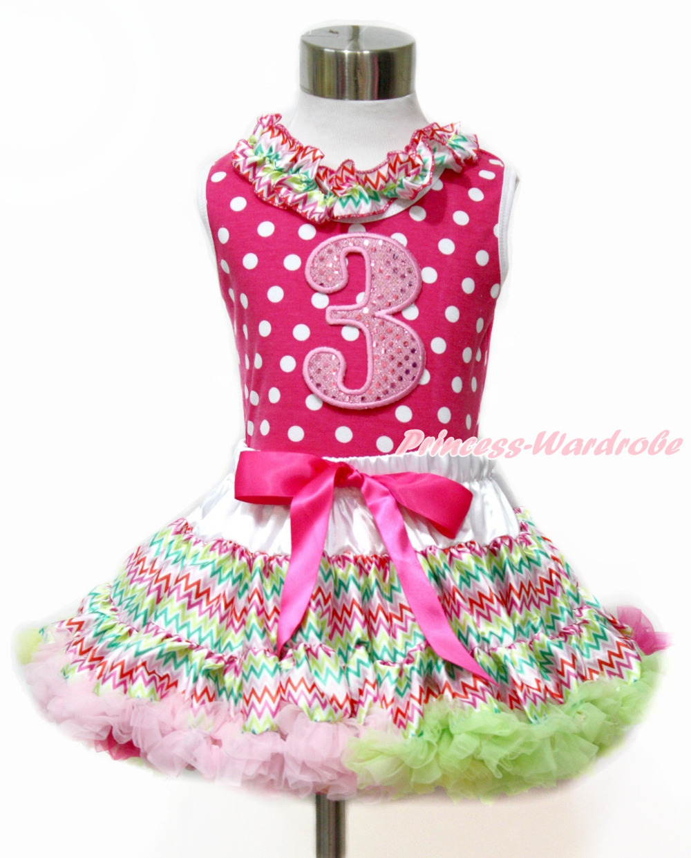 Easter Sparkle 3RD Hot Pink White Dot Top Rainbow Stripe Skirt Set 1-8Y MAMH170<br>