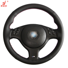 XUJI Black Leather Hand-stitched Steering Wheel Cover for BMW E46 E39 330i 540i 525i 530i 330Ci M3 2001-2003