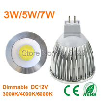 10pcs/lot MR16 COB dimmable 2800K  Warm White Spot Light Bulb Lamp 3W 5W 7W replace the 55w/65w/85w Halogen lamp + free shipping