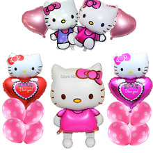15pcs/Lot Large Kitty Cat Foil Baloon Hello Kitty Party Supplies Kids Birthday Party Decorations Air Balloons Inflatable Toys(China)