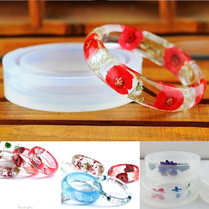 3 Clear Silicone Round Bracelet Mould for Resin Casting Jewelry Making Craft
