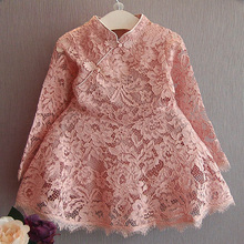 Fashion Toddler Girls Christmas Dress Long Sleeve Red Pink Girls Lace Dress Hollow Retro Girl Party Dresses Retro Kids Clothes