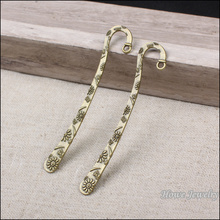 wholesale 40pcs vintage double side bookmark charm with loop pendant antique bronze fit for diy jewelry findings 84mm(China)