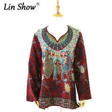 Flowers Printed Chiffon Women Blouses Vintage Long Sleeve Ethnic Style Female Tops Autumn Floral Red Ladies Shirts C2376
