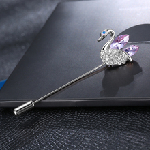 H:HYDE Fashion Crystal CZ Zircon Swan Brooches Pins Jewelry for Women Girls Corsages Hijab Pin Broches Accessories(China)